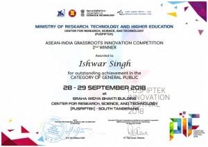 International Award, Certificate