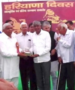 Recognized at Jat College,on Haryana Day function
